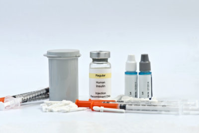 Diabetic testing strips, syringes, lancets, insulin and calibration solutions